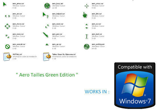 Aero Green Tailless Cursors