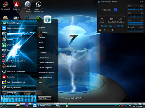 BLUE WIN 7 theme free download