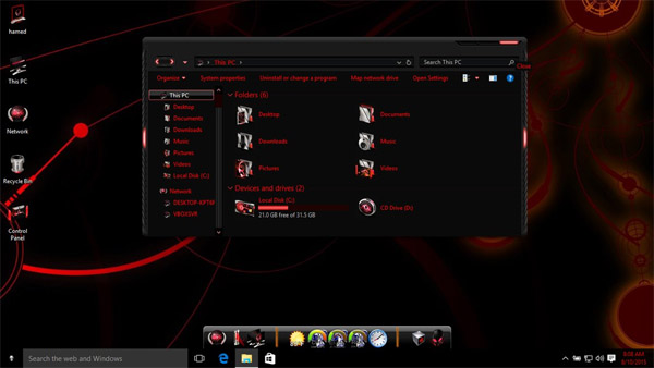 Alienred theme for Win10 desktop theme