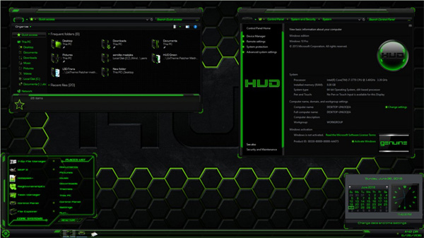 HUD Green for Windows 10 theme