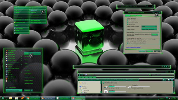 Green Glass theme for windows 7 download