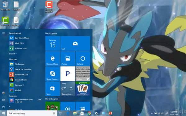 Multimedia Lucario Theme for Windows 10 and 11