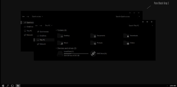 Pure Black Gray Theme Win10 Anniversary Update
