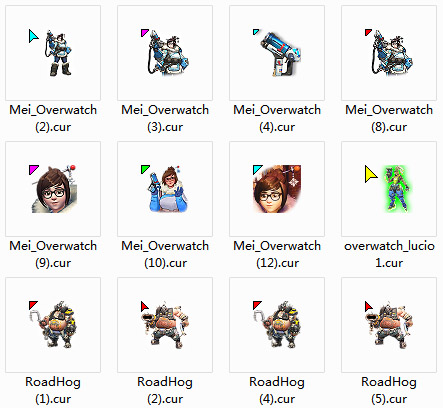 Overwatch - Mei & Roadhog mouse cursors