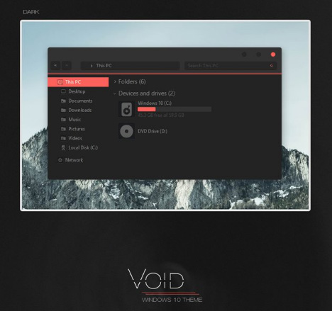 free Void - Windows 10 Edition theme
