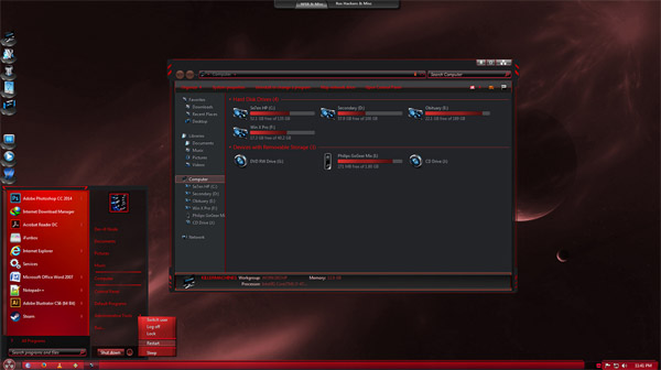 Caustic Red 7 for windows 7 desktop themes