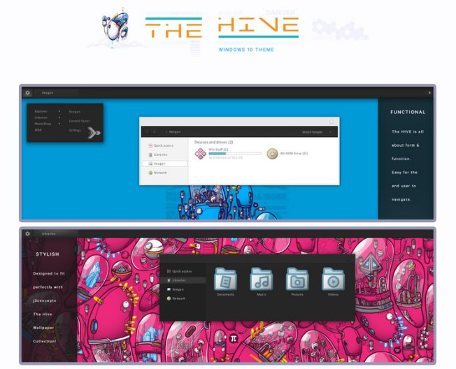 The HIVE for windows 10 themes