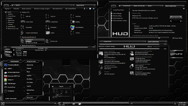 HUD Machine White for Windows 8.1 desktop theme