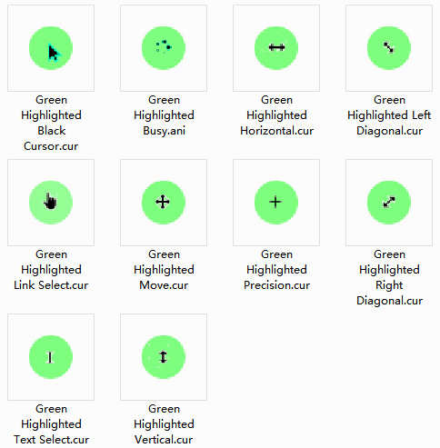 Green Highlight Mouse Cursors