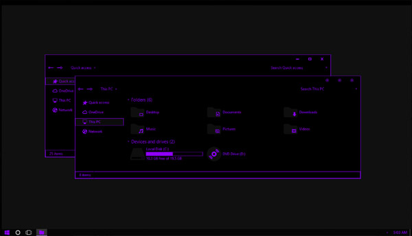 Pure Black Purple Neon Theme