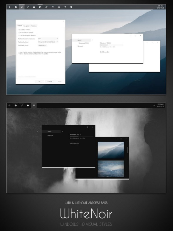 WhiteNoir for win10 desktop themes