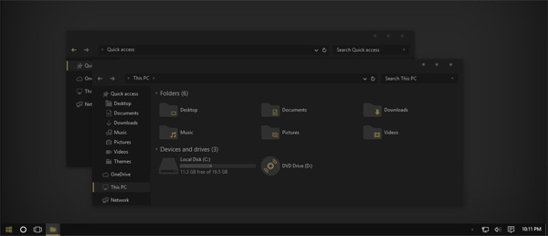 After Dark Gold Theme Win10 Fall Creators