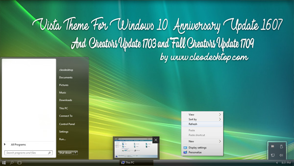Vista Aero Theme Win10 Fall Creators