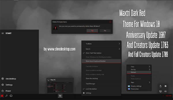 Maxtri Dark Red Theme Win10 Fall Creators