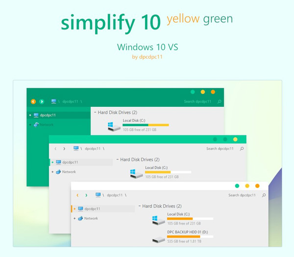 Simplify 10 Yellow Green for Windows 10 Theme