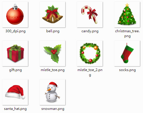 HD Christmas desktop icons for windows 7