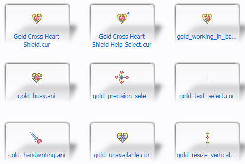 Gold Cross Heart Shield Mouse Cursors